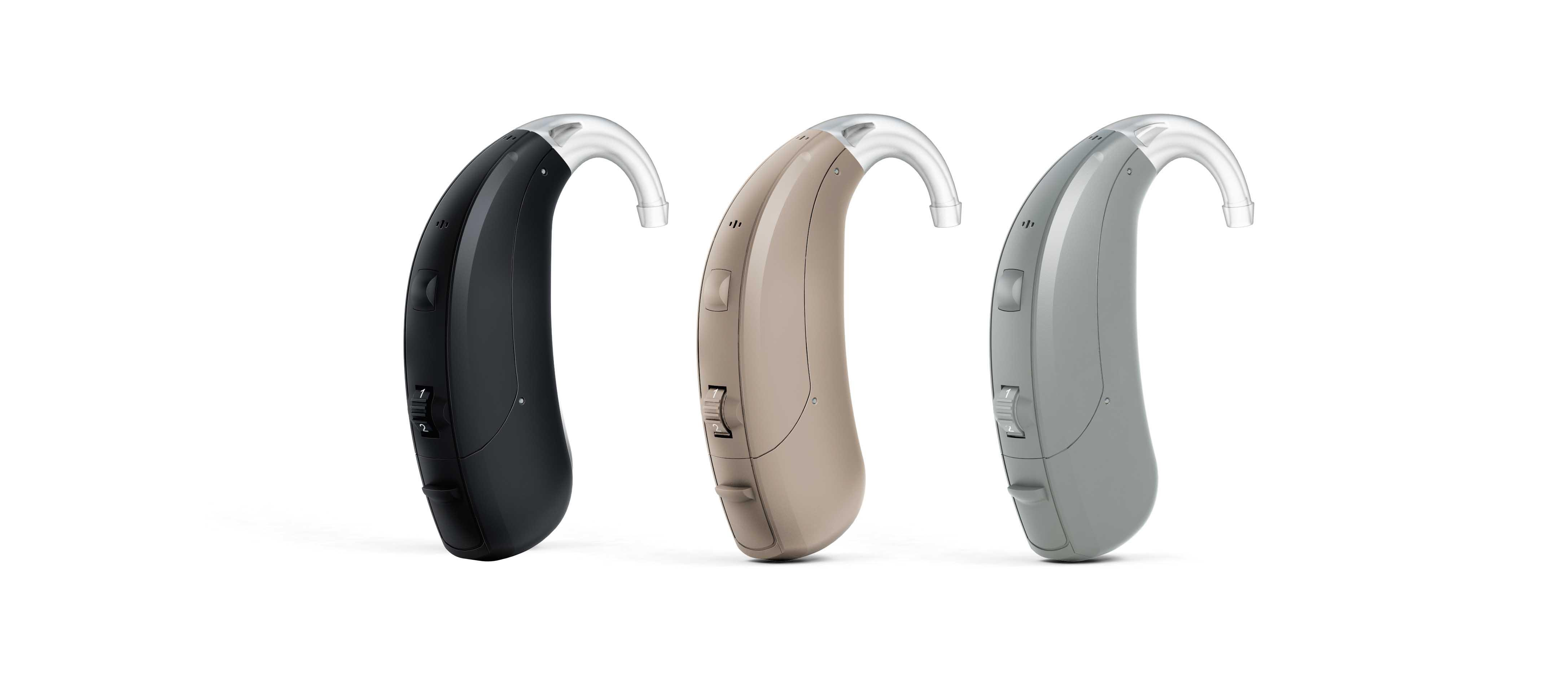 Interton Gain hearing aids are available in three colors: black, beige and grey.